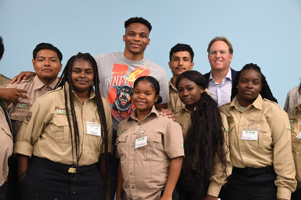 Philanthropist Chad Brownstein and Russel Westbrook at the LA Conservation Corps